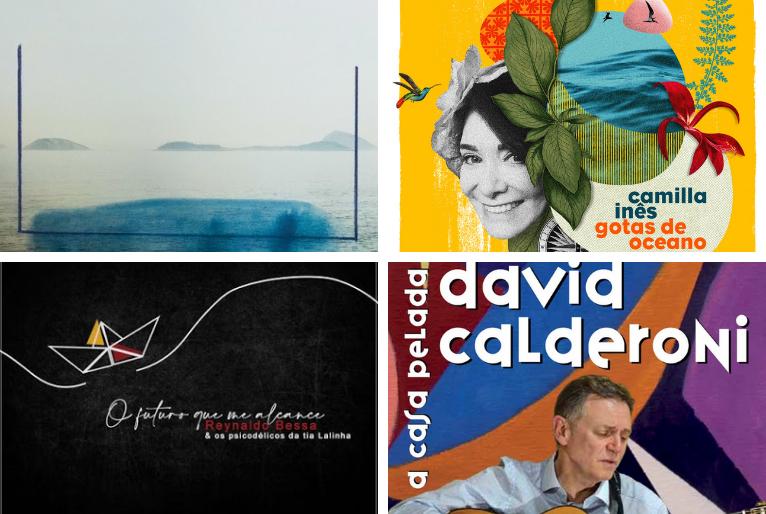 """Capa dos álbuns """"Respiro"""", """"O futuro que me alcance"""", """"Gotas de Oceano"""" e """"A casa pelada"""""""